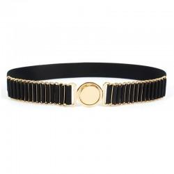 belts for women fashion - beauty round metal buckle belt - vintage lady elastic designer waistband strap