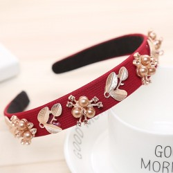women hairband - crown full rhinestone - handmade hair bands - red crystal velvet wide hoop headband
