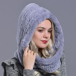 Hood made of real rabbit fur - fashionable warm hat - shawl
