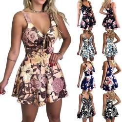 Short jumpsuit with summer print - shorts - mini dress