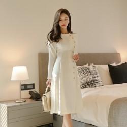elegant dress - casual long sleeve dress - office lady runway designers high fashion dress