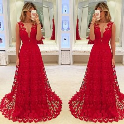 women summer sexy sleeveless v-neck long dress - ladies evening party formal solid red lace dresses