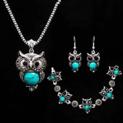stone necklace set - owl bracelet & earrings - necklace jewelry - pendant long chain necklace-in pendant necklaces