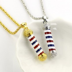 Gold & silver necklace with a microphone