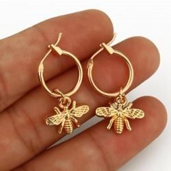 1 Pair Small Bee Pendant Earrings - Gold