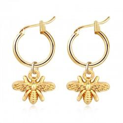 Small bee - gold earrings