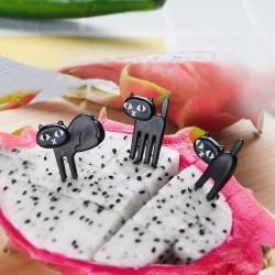Black cat fruit fork - 6pcs/pack