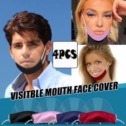 4 pieces - transparent mouth mask - anti-fog & -saliva - germs protection - plastic mouth shield - lip reading