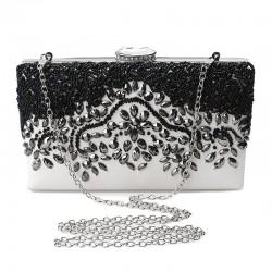 Crystal rhinestone purse - rectangle - black - ladies