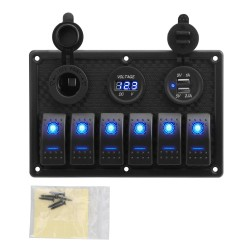 Rocker switch panel - 12V - USB - LED - waterproof digital Voltmeter for car - boat - truck