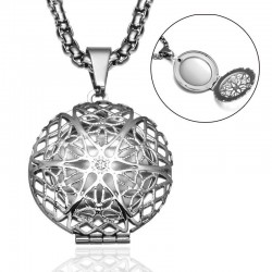 Hollow-out round ball - photo frame - necklace