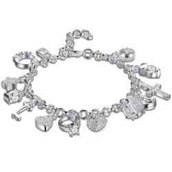Elegant bracelet with 13 charms - 925 sterling silver