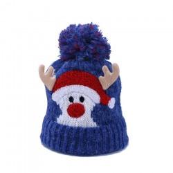 Warm winter kids hat with pom pom- Santa Claus - Reindeer horns