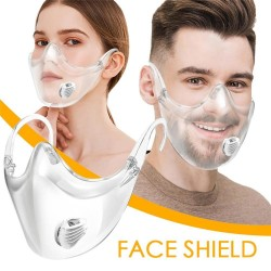 Protective transparent mouth / face mask - plastic shield with air valve - reusable