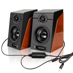 Wood grain speakers - bass stereo - computer speakers