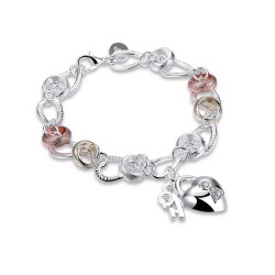 Exclusive bracelet with a heart-shaped crystal padlock - 925 sterling silver