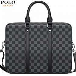 Classic business bag - plaid leather briefcase