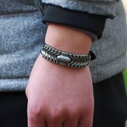 Punk leather bracelet - wrist band - orange- brown