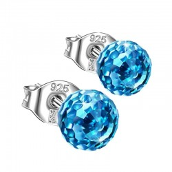 Blue crystal ball earrings for women