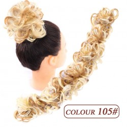 Wavy curly scrunchy - messy hair bun - with elastic band