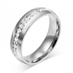 Elegant ring with crystals - stainless steel