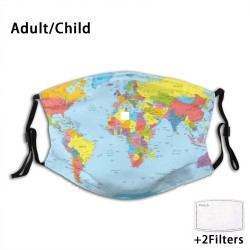 Face / mouth protective mask with 2 PM2.5 filters - for adults / children - world map