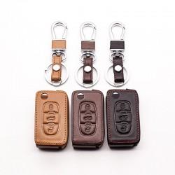 Car leather key cover - Peugeot - RCZ - 206 - 207 - 306