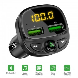 Car charger - dual USB - Bluetooth - wireless - FM - MP3 - TF card - hands-free