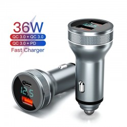 36W - USB phone car charger - quick charging QC3.0 / PD - type-C