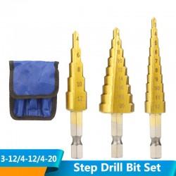 HSS step drill bit set - for wood / metal - 3-12mm / 4-12mm / 4-20mm 3 pieces