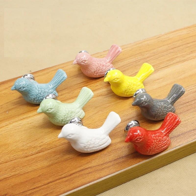 Dove shaped knob - furniture handle - ceramic