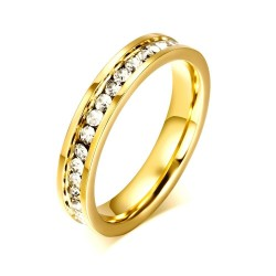 Luxurious ring with cubic zirconia - stainless steel - 4mm