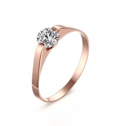 Rose gold ring - stainless steel - with cubic zirconia