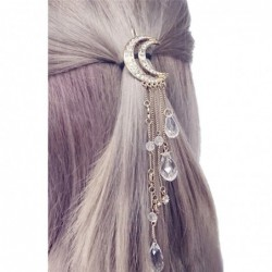 Moon crescent - hair clip with long tassels / crystals