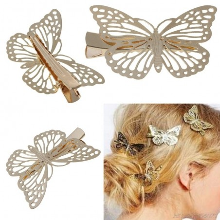 Hair clip with golden butterfly