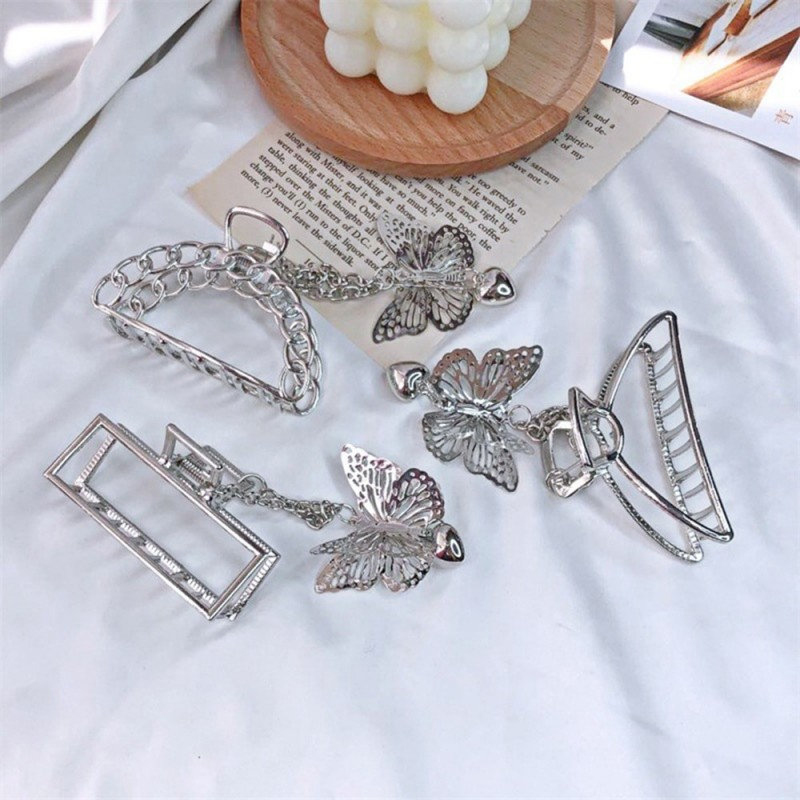 Vintage butterfly shaped hair clip - with chain