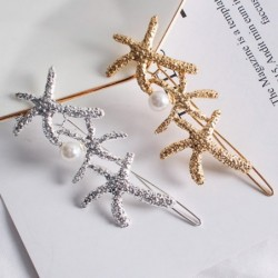 Crystal hair pin - with a pearl - starfish / safety pin