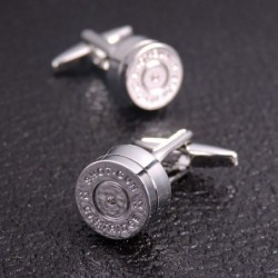 Bullet shaped round silver cufflinks