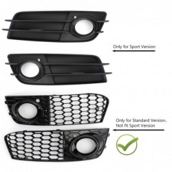 Grille intake cover - with fog light hole - honeycomb mesh - for Audi A4 B8 RS4