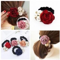 Elegant elastic hair band - with roses / pearls