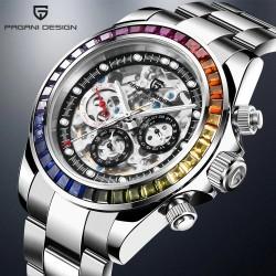 Pagani Design - luxury Quartz watch with rainbow crystals - automatic