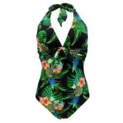 Retro one piece swimsuit - with neck tie up straps