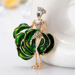 Dancing girl / rose shaped dress - crystal brooch