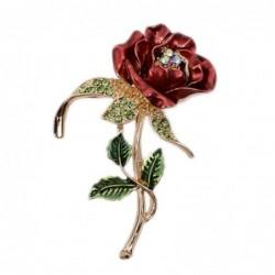 Three-leaf crystal rose - brooch