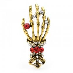 Crystal skull hand - vintage brooch