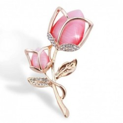 Luxurious brooch with crystal rose flower