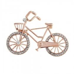 Crystal bicycle shaped brooch