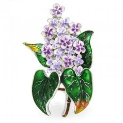 Trendy enamel lilac flower brooch