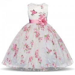 Luxury girls dress - floral design & bow
