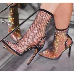 Sexy high-heeled mesh boots - transparent half-calf boots